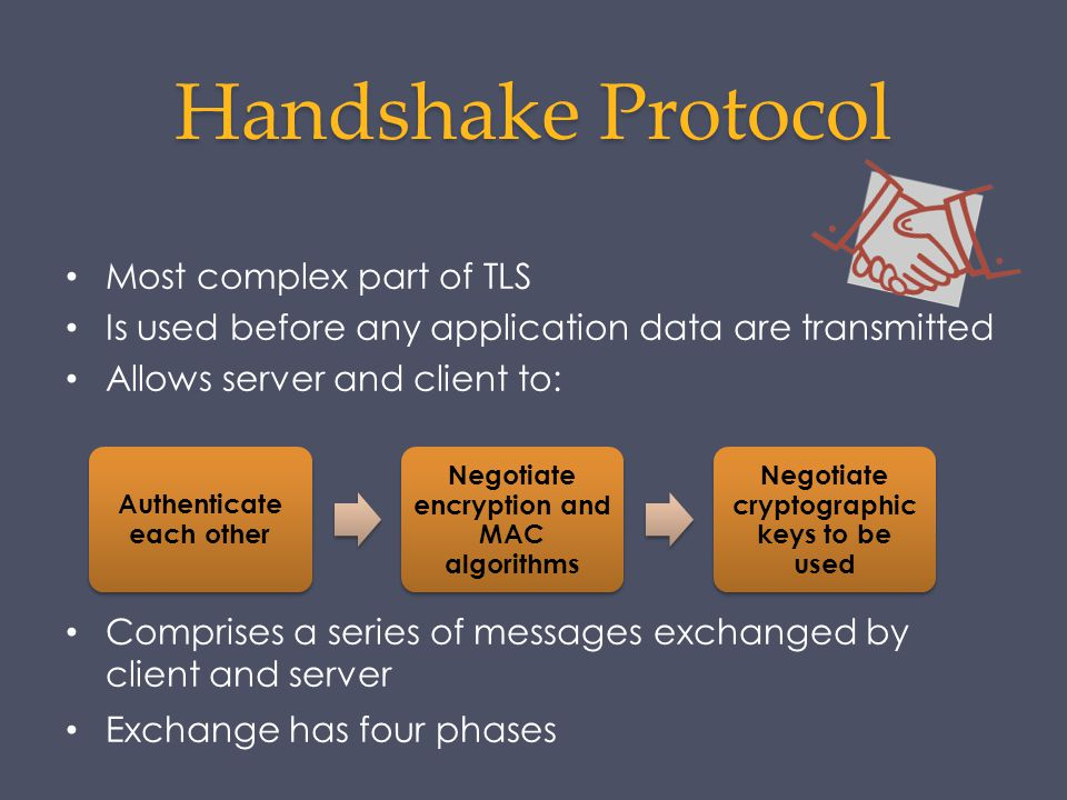 Handshake Protocol Most complex part of TLS Is used before any application data are transmitted Allows server and client to: Comprises a series of mes