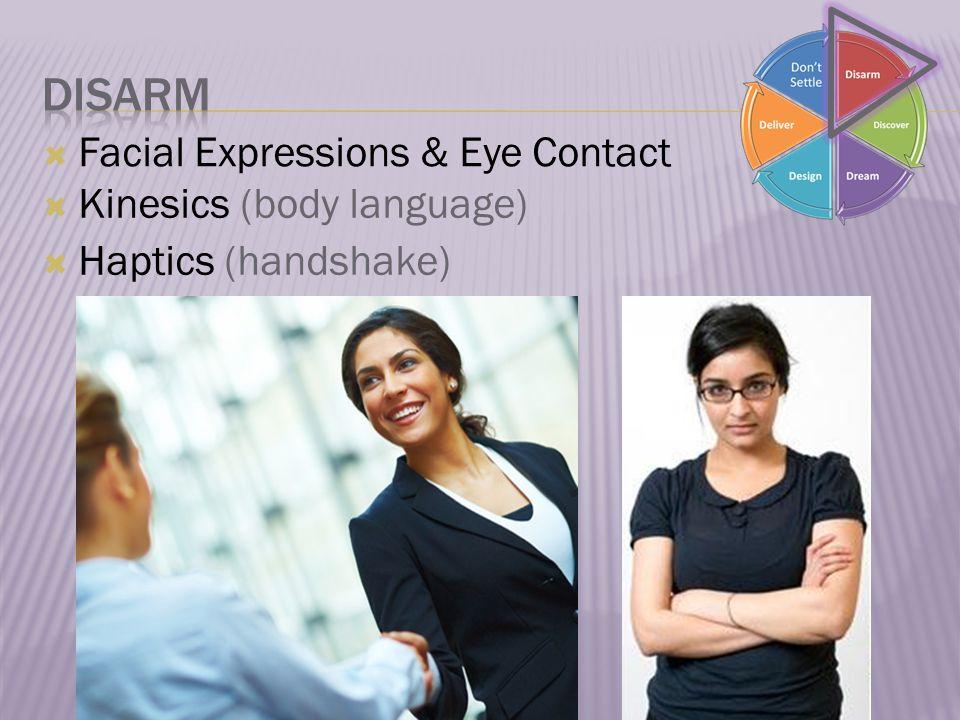  Facial Expressions & Eye Contact  Kinesics (body language)  Haptics (handshake)