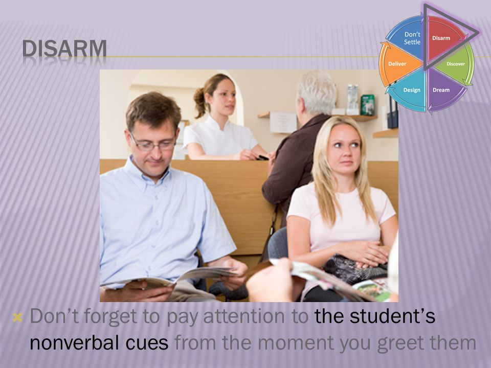  Don't forget to pay attention to the student's nonverbal cues from the moment you greet them