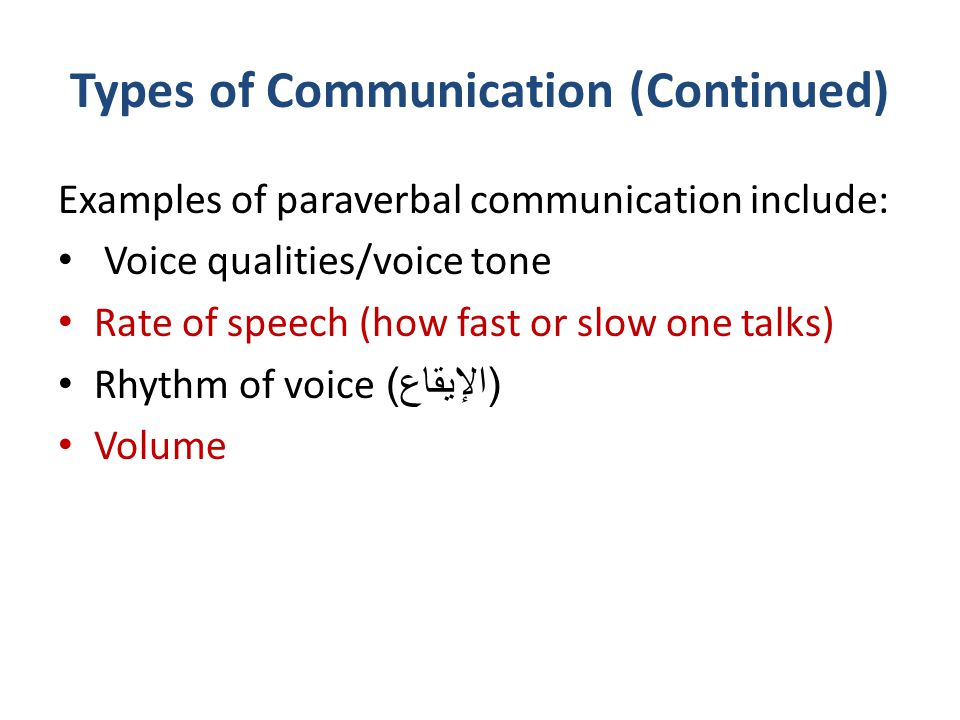 Types of Communication (Continued) Examples of paraverbal communication include: Voice qualities/voice tone Rate of speech (how fast or slow one talks
