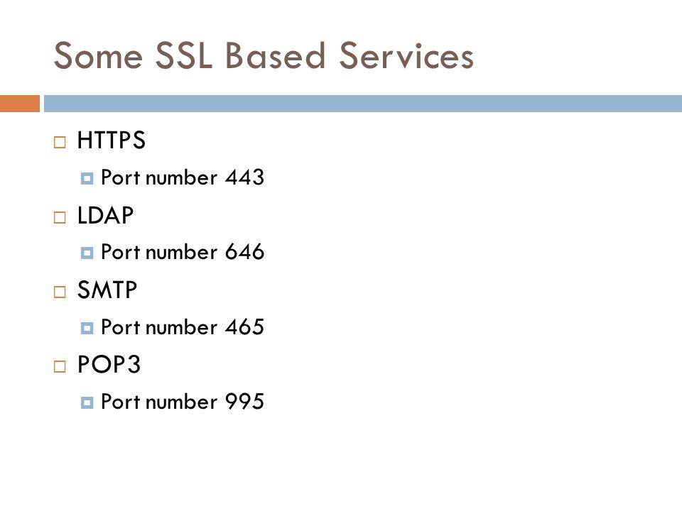 Some SSL Based Services  HTTPS  Port number 443  LDAP  Port number 646  SMTP  Port number 465  POP3  Port number 995