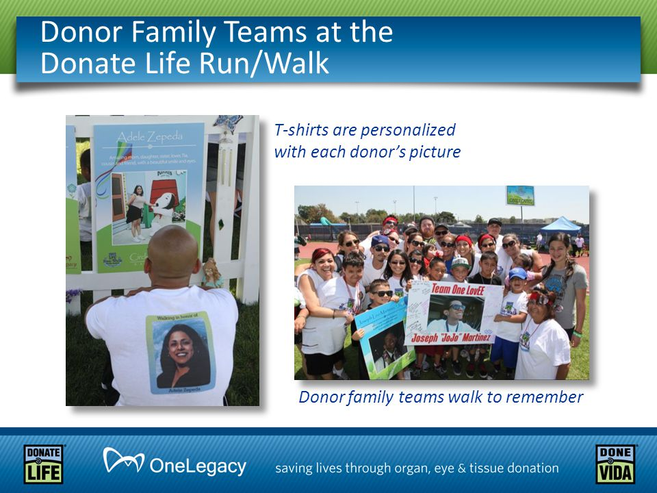 Donor Family Teams at the Donate Life Run/Walk Donor family teams walk to remember T-shirts are personalized with each donor's picture