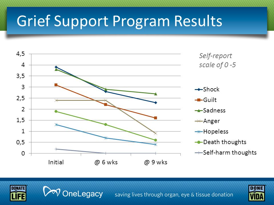 Grief Support Program Results Self-report scale of 0 -5