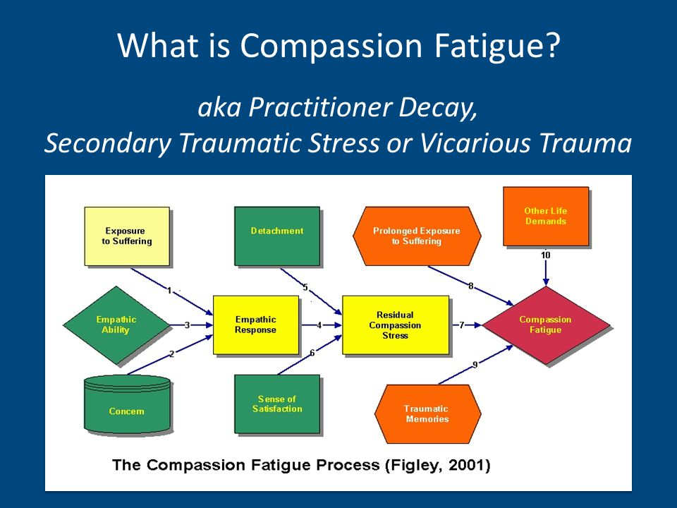 aka Practitioner Decay, Secondary Traumatic Stress or Vicarious Trauma What is Compassion Fatigue?