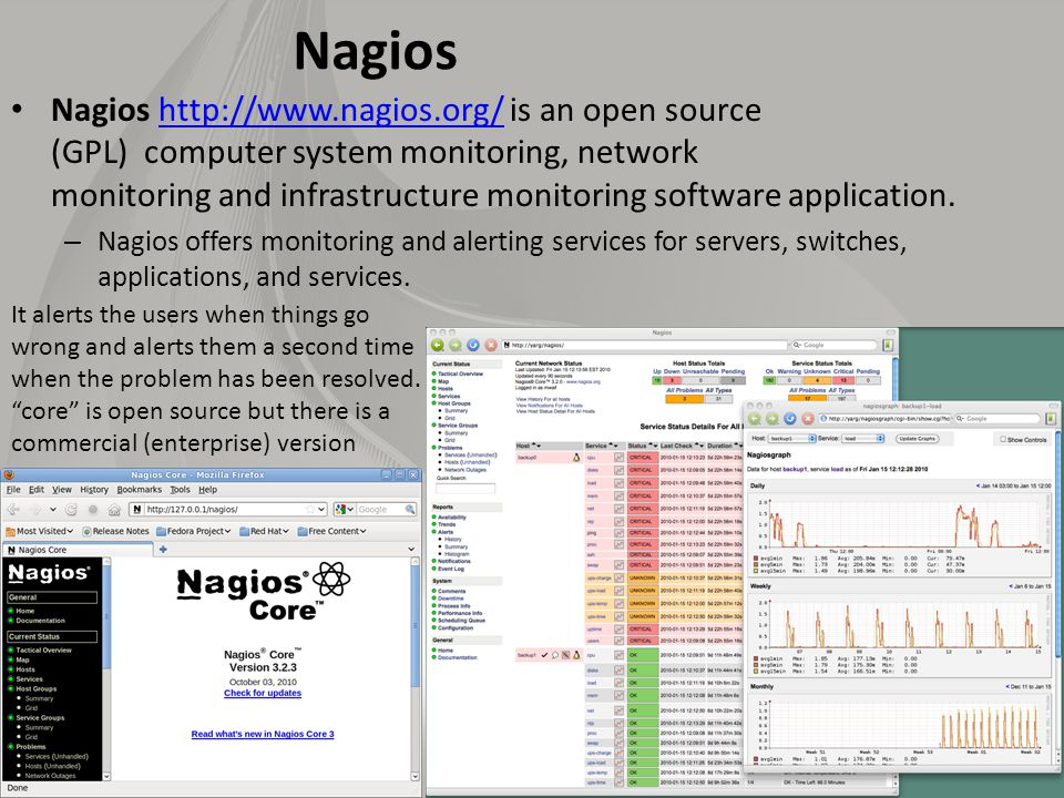 Nagios Nagios http://www.nagios.org/ is an open source (GPL) computer system monitoring, network monitoring and infrastructure monitoring software application.http://www.nagios.org/ – Nagios offers monitoring and alerting services for servers, switches, applications, and services.
