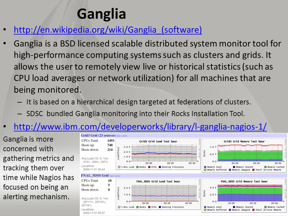 Ganglia http://en.wikipedia.org/wiki/Ganglia_(software) Ganglia is a BSD licensed scalable distributed system monitor tool for high-performance computing systems such as clusters and grids.