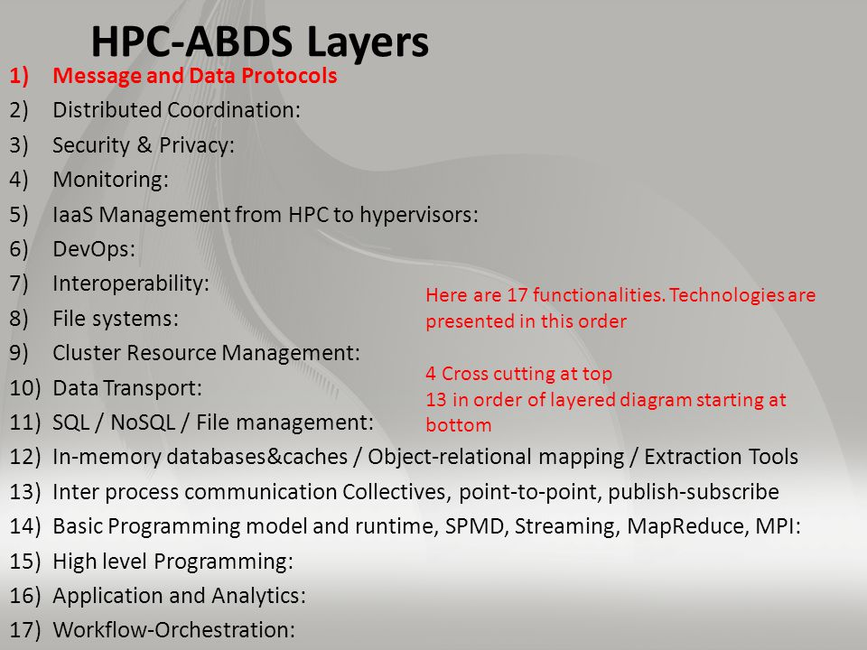 HPC-ABDS Layers 1)Message and Data Protocols 2)Distributed Coordination: 3)Security & Privacy: 4)Monitoring: 5)IaaS Management from HPC to hypervisors: 6)DevOps: 7)Interoperability: 8)File systems: 9)Cluster Resource Management: 10)Data Transport: 11)SQL / NoSQL / File management: 12)In-memory databases&caches / Object-relational mapping / Extraction Tools 13)Inter process communication Collectives, point-to-point, publish-subscribe 14)Basic Programming model and runtime, SPMD, Streaming, MapReduce, MPI: 15)High level Programming: 16)Application and Analytics: 17)Workflow-Orchestration: Here are 17 functionalities.