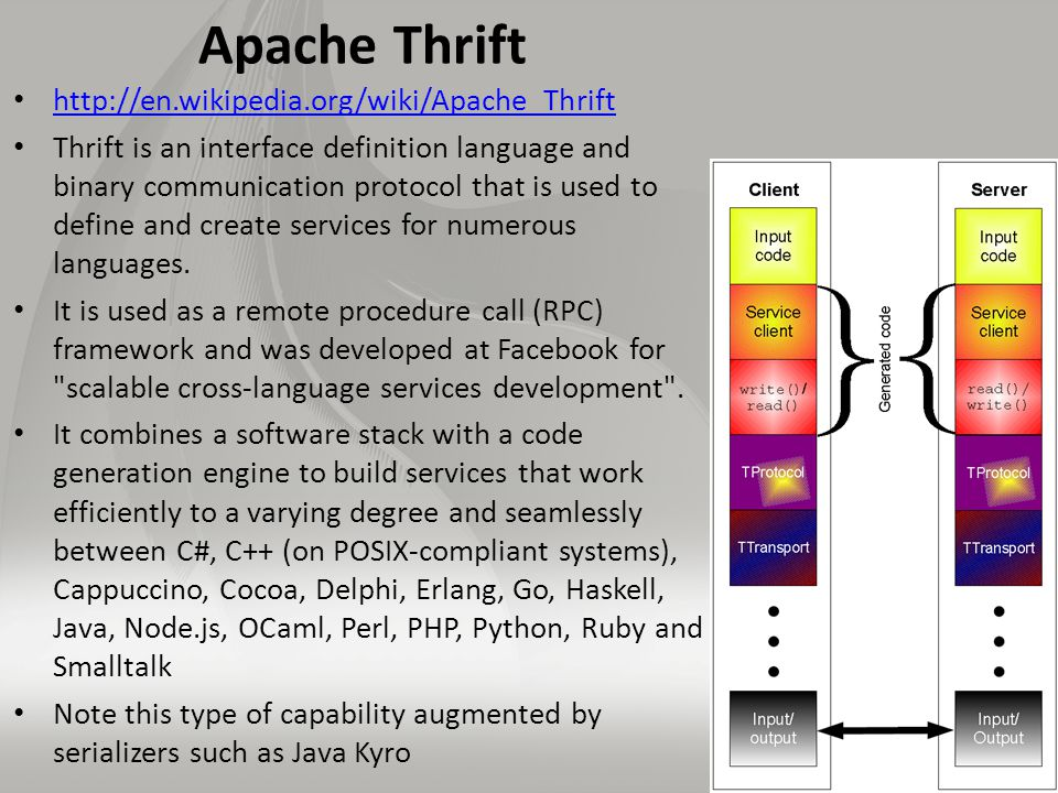 Apache Thrift http://en.wikipedia.org/wiki/Apache_Thrift Thrift is an interface definition language and binary communication protocol that is used to define and create services for numerous languages.