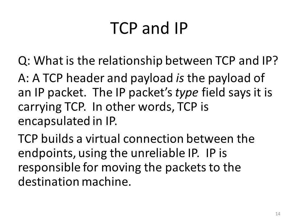 TCP and IP Q: What is the relationship between TCP and IP.