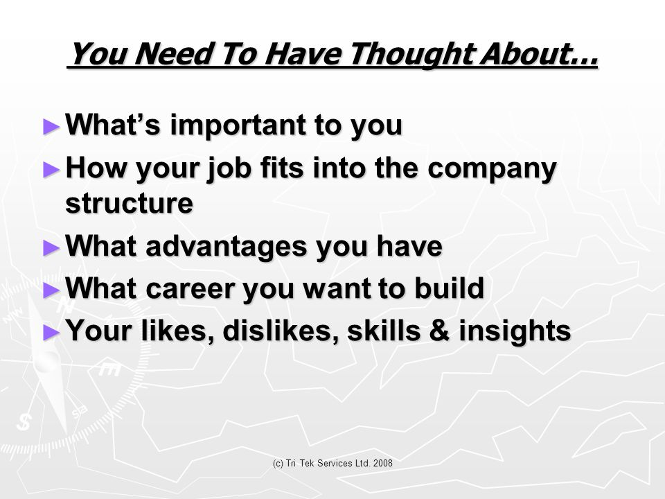 (c) Tri Tek Services Ltd. 2008 You Need To Have Thought About… ► What's important to you ► How your job fits into the company structure ► What advanta