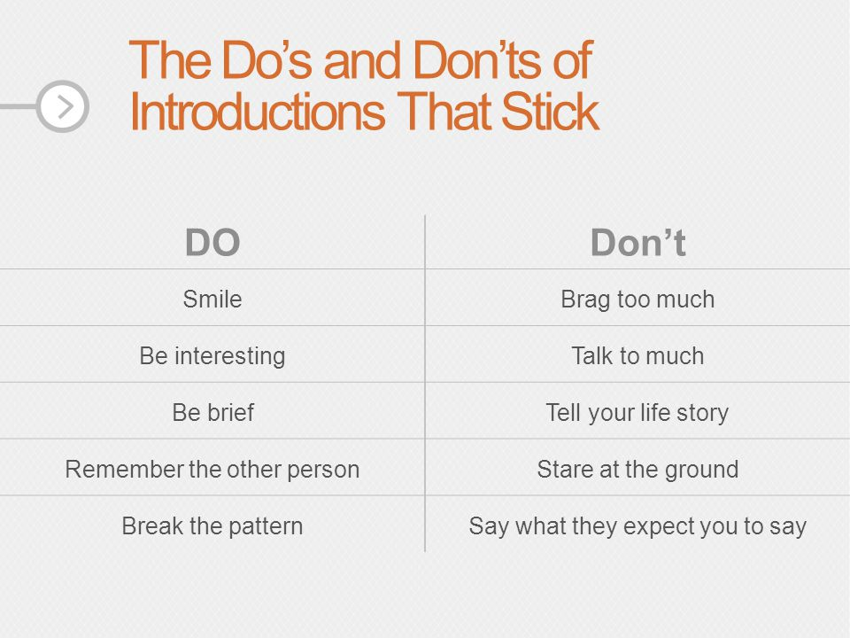 The Do's and Don'ts of Introductions That Stick DODon't SmileBrag too much Be interestingTalk to much Be briefTell your life story Remember the other personStare at the ground Break the patternSay what they expect you to say