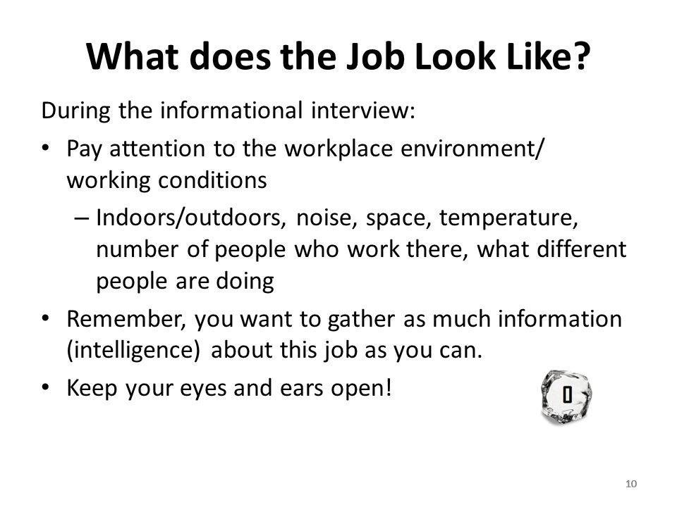 10 What does the Job Look Like.