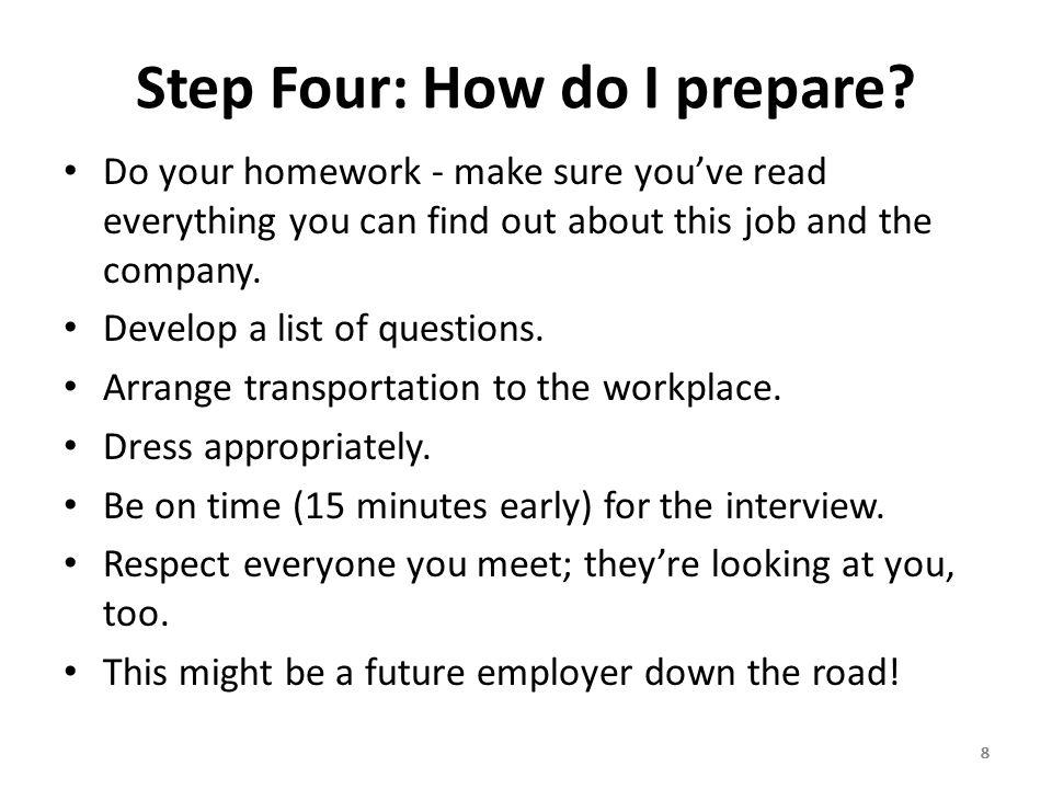 888 Step Four: How do I prepare.