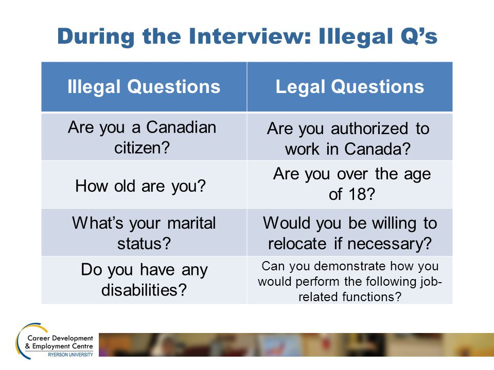 During the Interview: Illegal Q's Illegal QuestionsLegal Questions How old are you? Are you a Canadian citizen? Are you authorized to work in Canada?