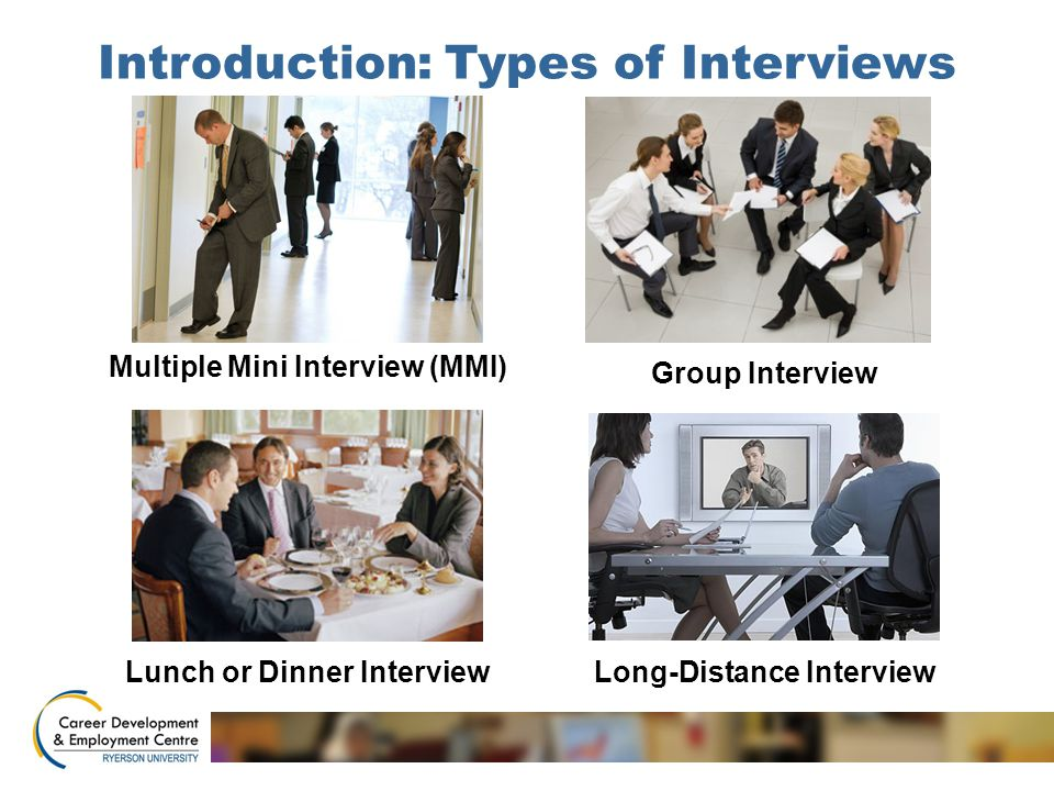 Introduction: Types of Interviews Multiple Mini Interview (MMI) Group Interview Lunch or Dinner InterviewLong-Distance Interview