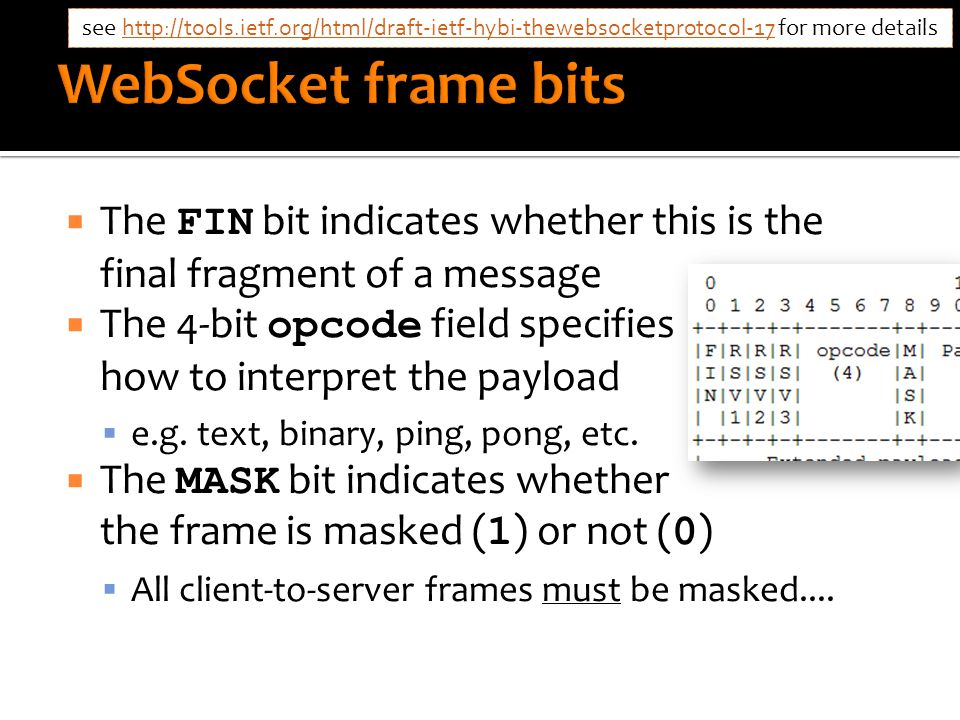  The FIN bit indicates whether this is the final fragment of a message  The 4-bit opcode field specifies how to interpret the payload  e.g.