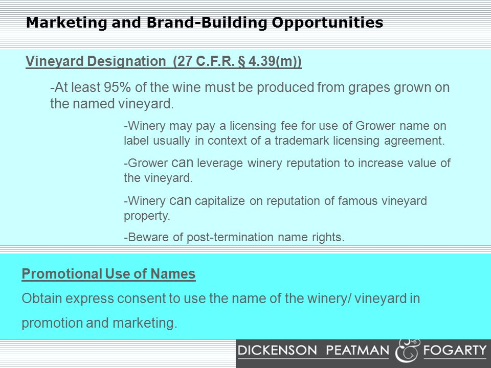 Marketing and Brand-Building Opportunities Vineyard Designation (27 C.F.R.
