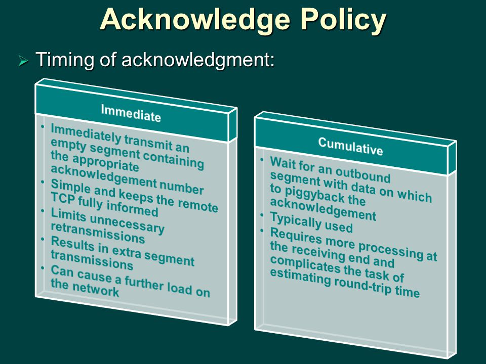 Acknowledge Policy  Timing of acknowledgment: