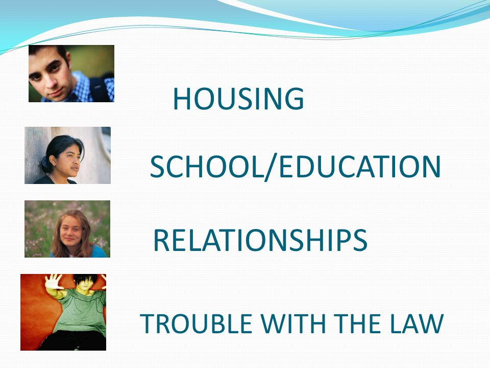 HOUSING SCHOOL/EDUCATION RELATIONSHIPS TROUBLE WITH THE LAW