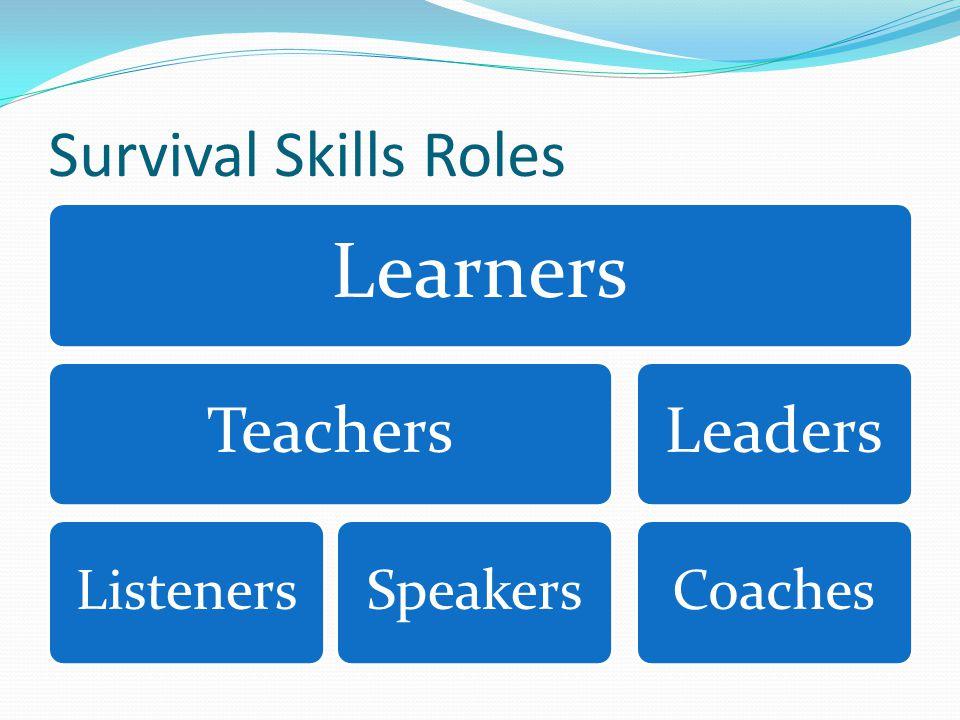 Survival Skills Roles Learners Teachers ListenersSpeakers Leaders Coaches