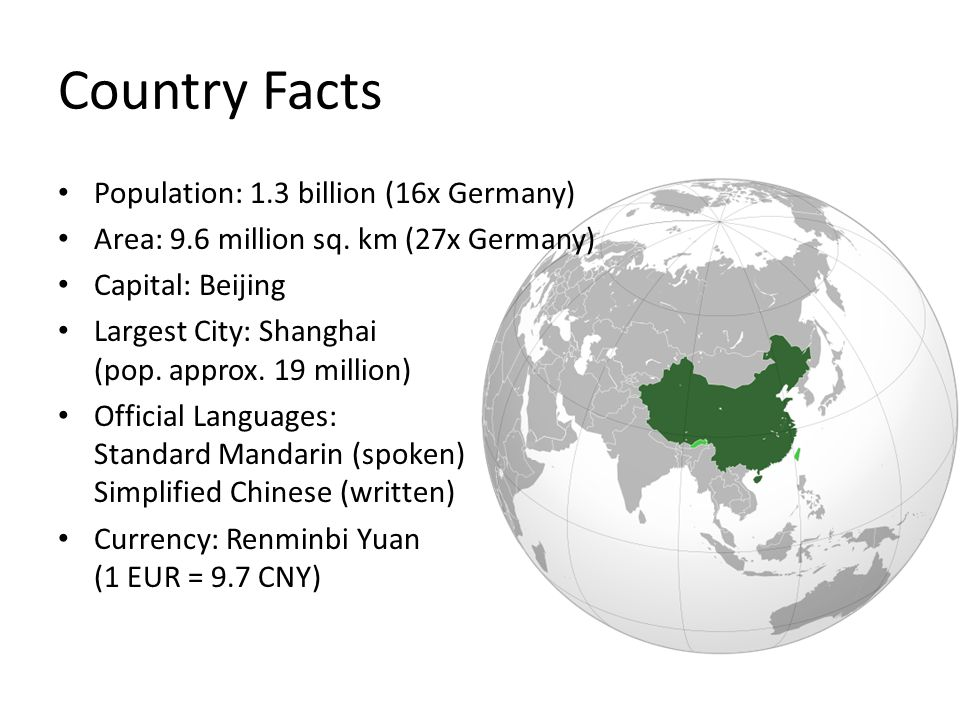Country Facts Population: 1.3 billion (16x Germany) Area: 9.6 million sq.