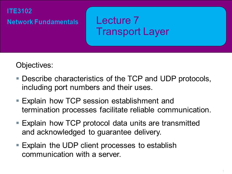 1 ITE3102 Network Fundamentals Lecture 7 Transport Layer Objectives:  Describe characteristics of the TCP and UDP protocols, including port numbers a