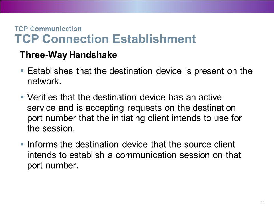 14 TCP Communication TCP Connection Establishment Three-Way Handshake  Establishes that the destination device is present on the network.  Verifies