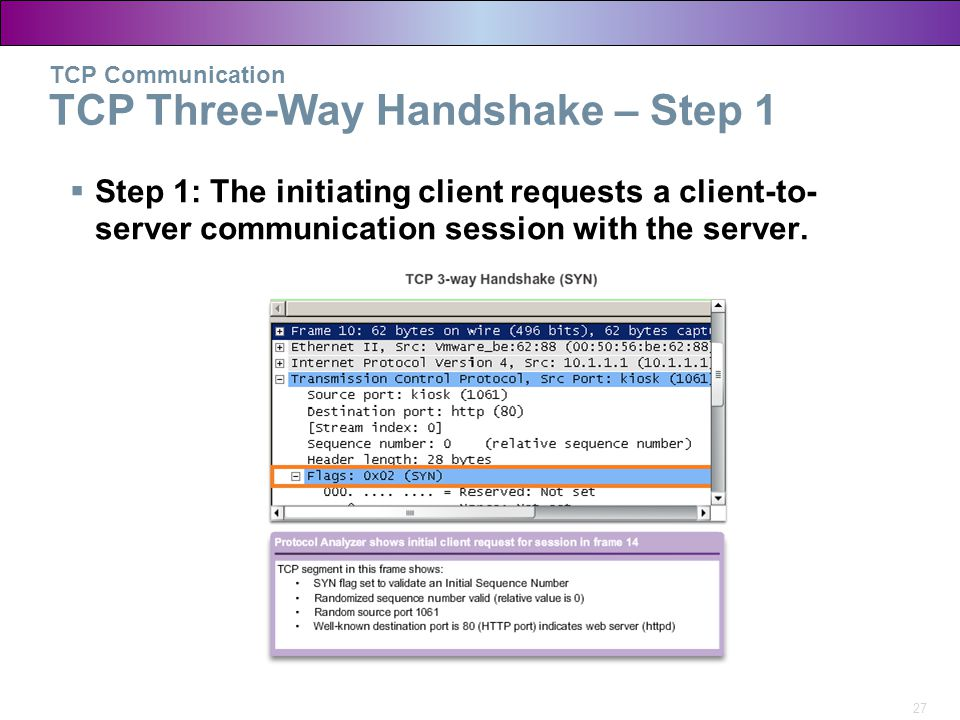 27 TCP Communication TCP Three-Way Handshake – Step 1  Step 1: The initiating client requests a client-to- server communication session with the serv