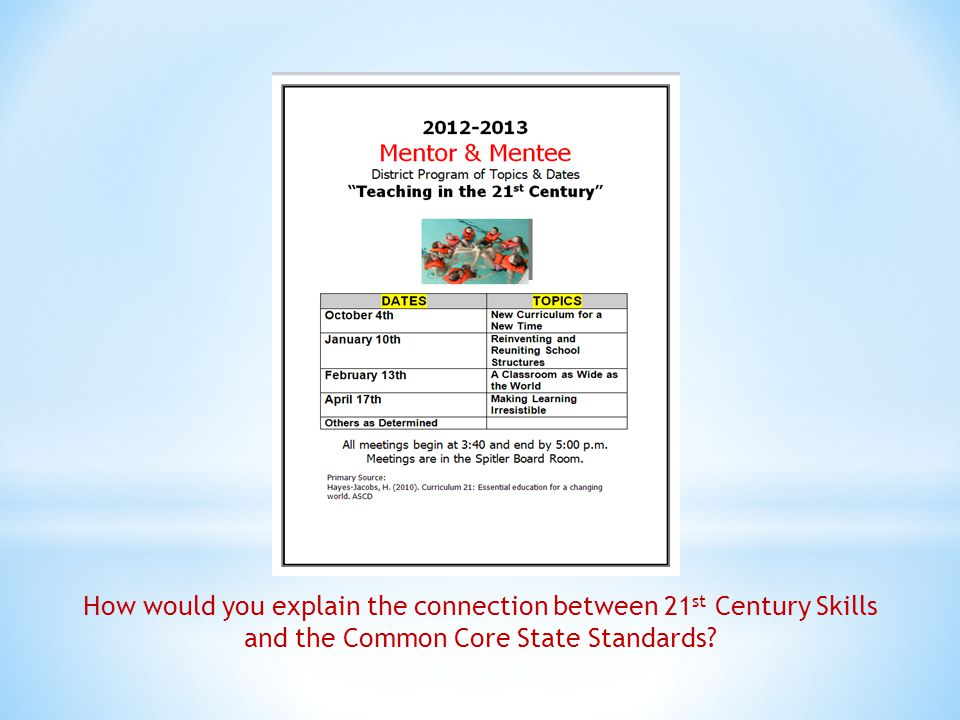 How would you explain the connection between 21 st Century Skills and the Common Core State Standards?