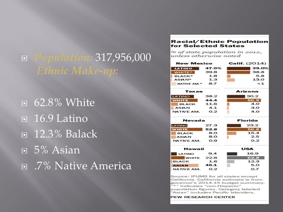  Population: 317,956,000 Ethnic Make-up:  62.8% White  16.9 Latino  12.3% Balack  5% Asian .7% Native America