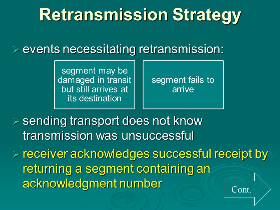 Retransmission Strategy  events necessitating retransmission:  sending transport does not know transmission was unsuccessful  receiver acknowledges successful receipt by returning a segment containing an acknowledgment number Cont.