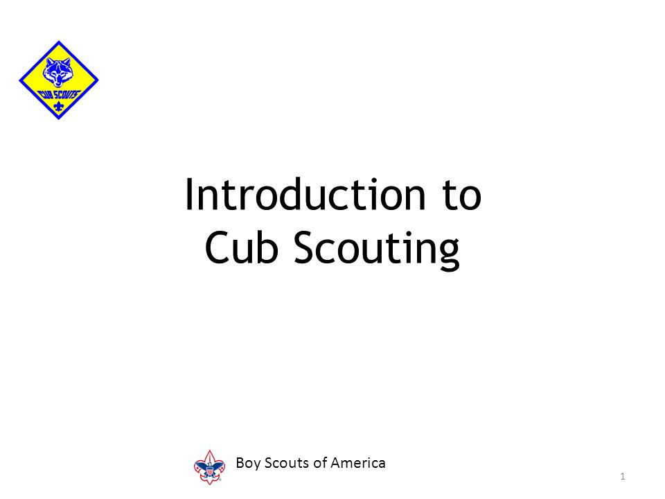 Introduction to Cub Scouting 1 Boy Scouts of America