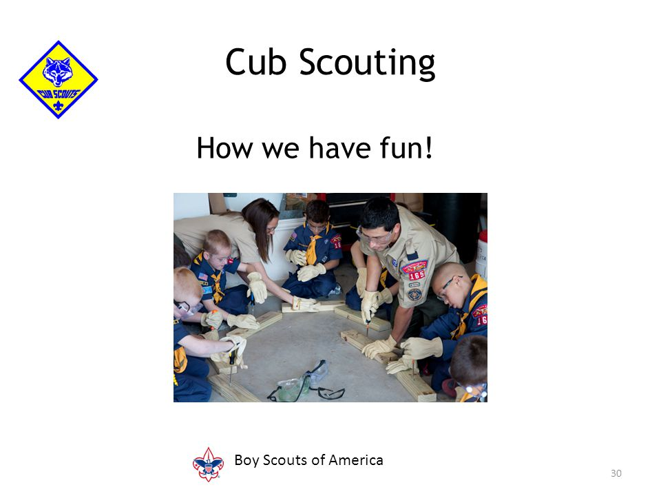 Properly setting up and using: The Cub Scout month Pack organization Annual program planning conference Unit budget plan Parent involvement—how to get help Activities (pack, district, and council) 31 Fun comes from...