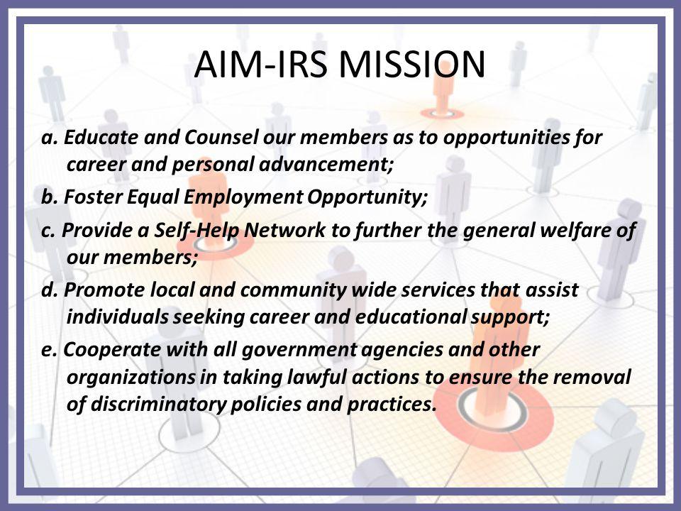 AIM-IRS MISSION a.