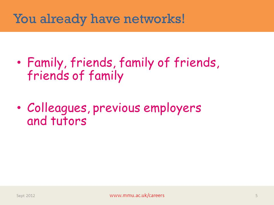 You already have networks! Sept 2012 www.mmu.ac.uk/careers 5 Family, friends, family of friends, friends of family Colleagues, previous employers and