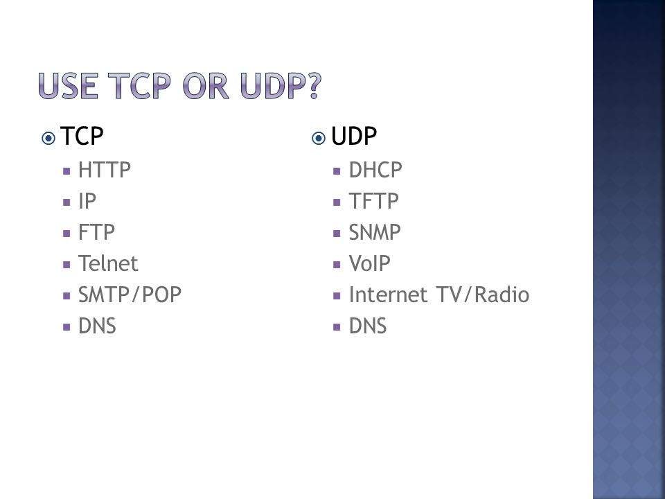  TCP  HTTP  IP  FTP  Telnet  SMTP/POP  DNS  UDP  DHCP  TFTP  SNMP  VoIP  Internet TV/Radio  DNS