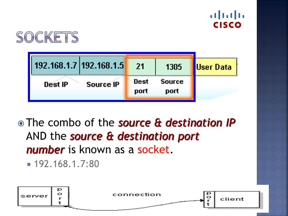 source & destination IP source & destination port number  The combo of the source & destination IP AND the source & destination port number is known as a socket.