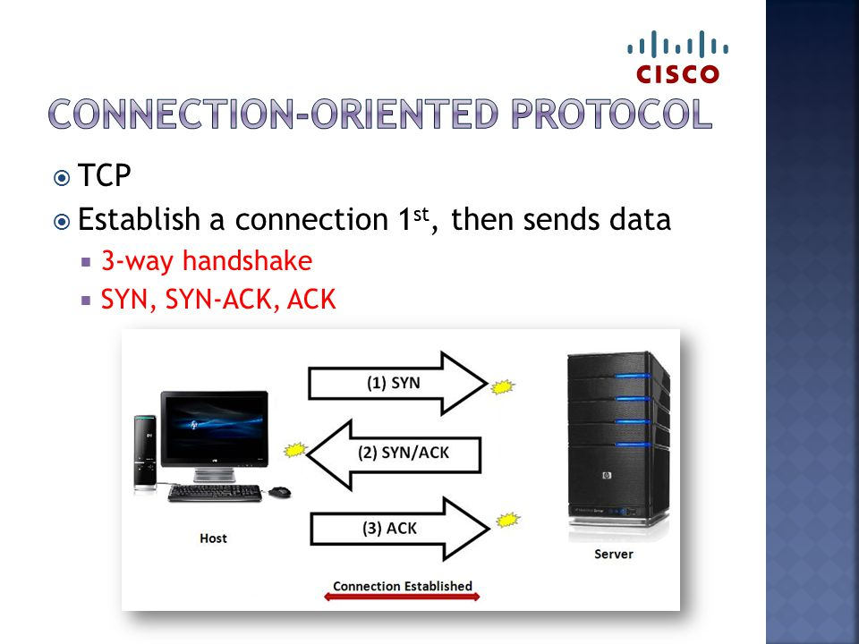  TCP  Establish a connection 1 st, then sends data  3-way handshake  SYN, SYN-ACK, ACK