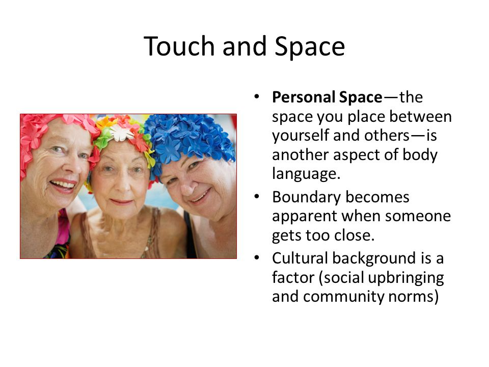 Touch and Space Personal Space—the space you place between yourself and others—is another aspect of body language.