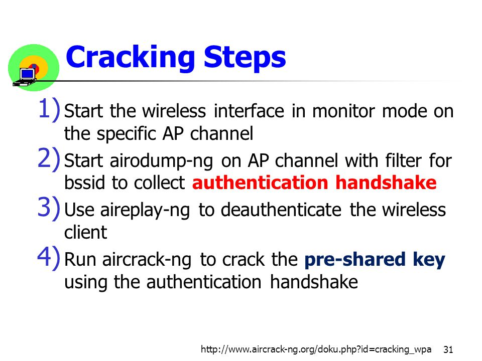 Cracking Steps 1) Start the wireless interface in monitor mode on the specific AP channel 2) Start airodump-ng on AP channel with filter for bssid to collect authentication handshake 3) Use aireplay-ng to deauthenticate the wireless client 4) Run aircrack-ng to crack the pre-shared key using the authentication handshake 31 http://www.aircrack-ng.org/doku.php?id=cracking_wpa