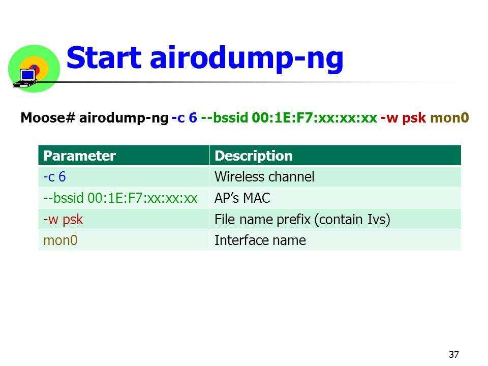 Start airodump-ng 37 Moose# airodump-ng -c 6 --bssid 00:1E:F7:xx:xx:xx -w psk mon0 ParameterDescription -c 6Wireless channel --bssid 00:1E:F7:xx:xx:xx
