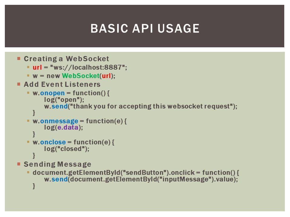  Creating a WebSocket  url =