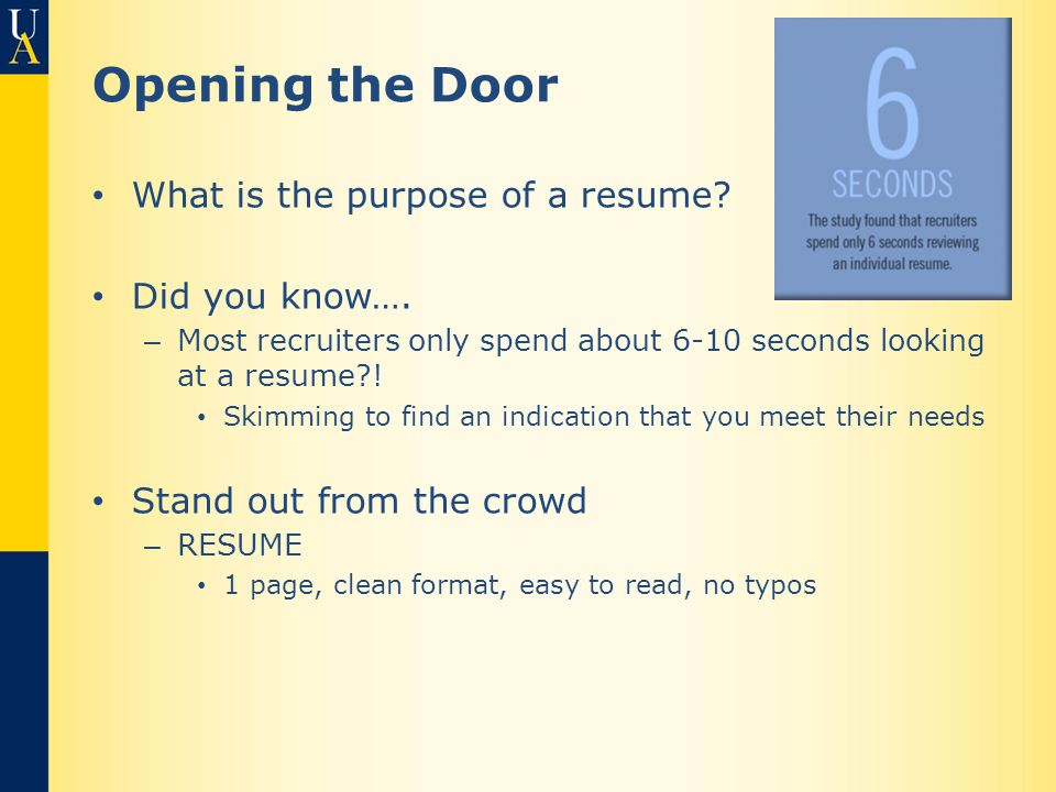 Opening the Door What is the purpose of a resume.Did you know….