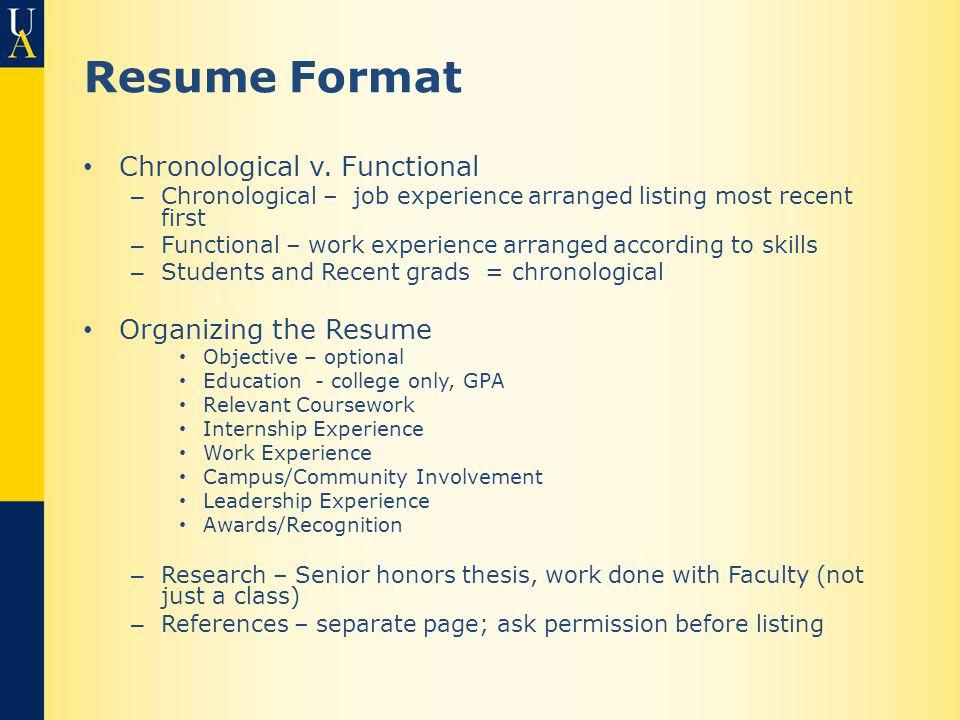 Resume Format Chronological v.
