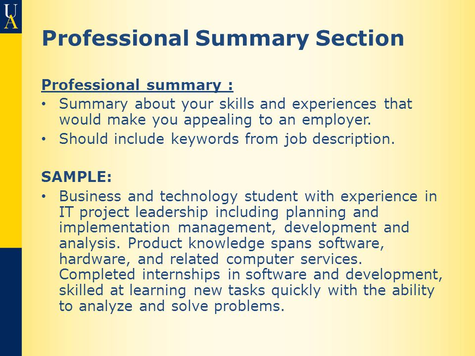 Professional Summary Section Professional summary : Summary about your skills and experiences that would make you appealing to an employer.