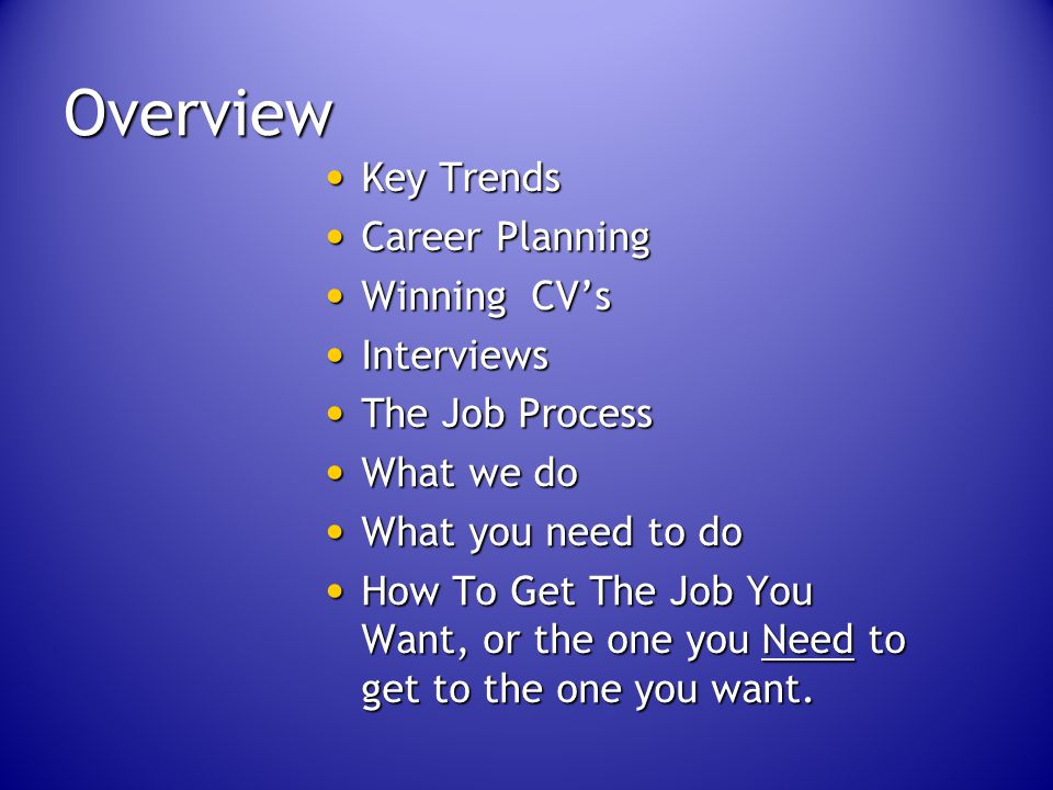 Overview Key Trends Key Trends Career Planning Career Planning Winning CV's Winning CV's Interviews Interviews The Job Process The Job Process What we