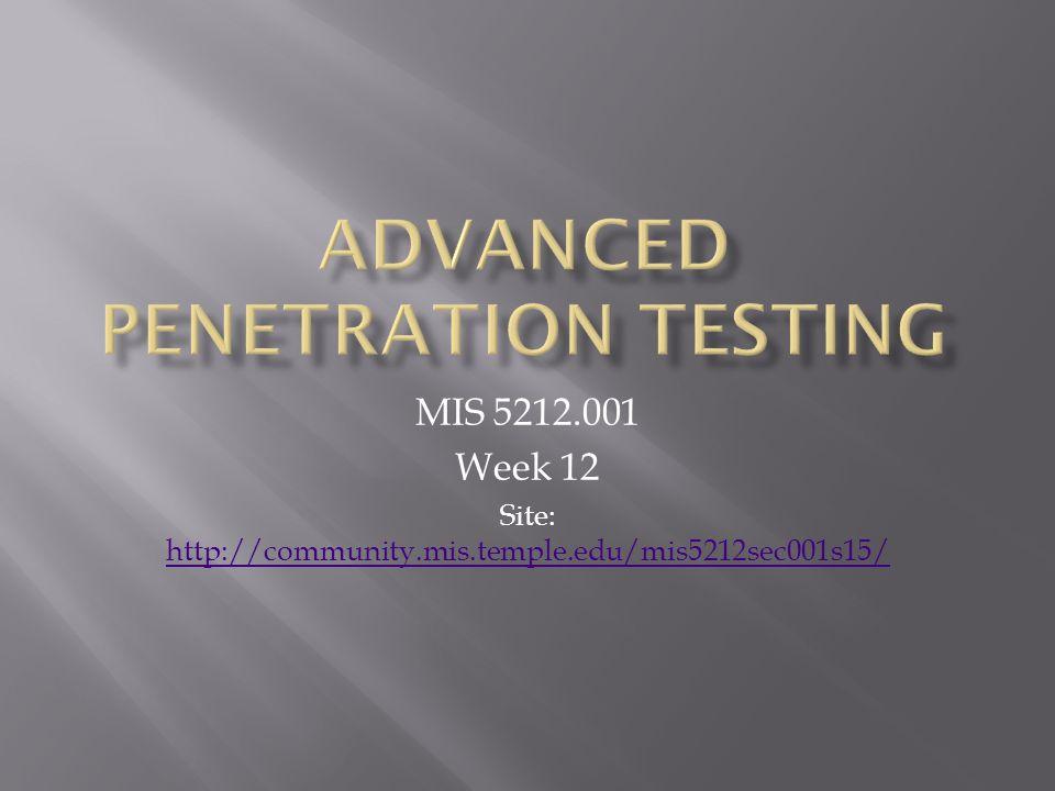 MIS 5212.001 Week 12 Site: http://community.mis.temple.edu/mis5212sec001s15/ http://community.mis.temple.edu/mis5212sec001s15/