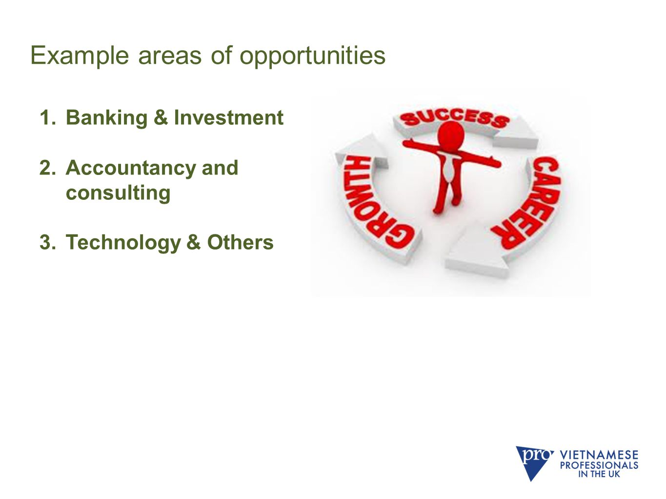 Example areas of opportunities 1.Banking & Investment 2.Accountancy and consulting 3.Technology & Others