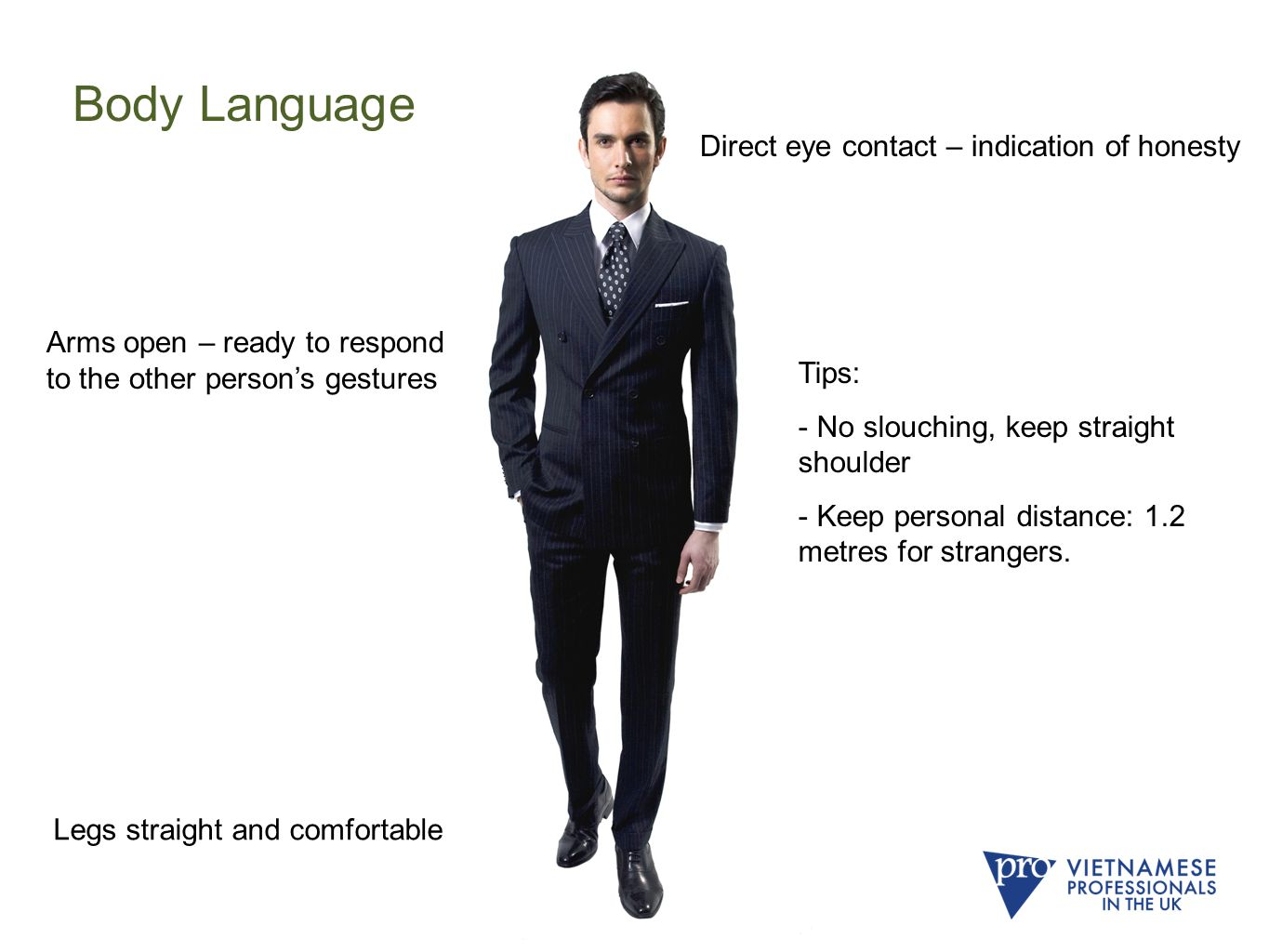 Body Language Direct eye contact – indication of honesty Arms open – ready to respond to the other person's gestures Legs straight and comfortable Tips: - No slouching, keep straight shoulder - Keep personal distance: 1.2 metres for strangers.