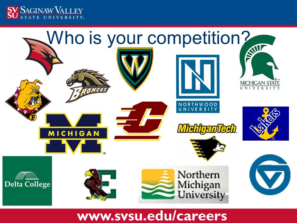 Who is your competition? www.svsu.edu/careers